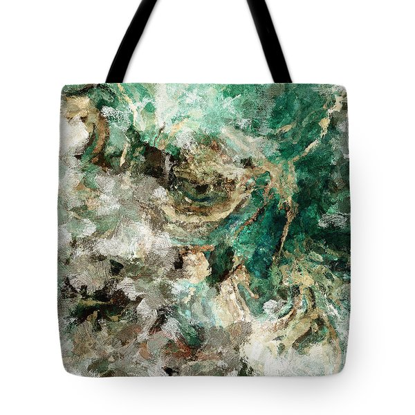 Tote Bag featuring the painting Teal And Cream Abstract Painting by Ayse Deniz