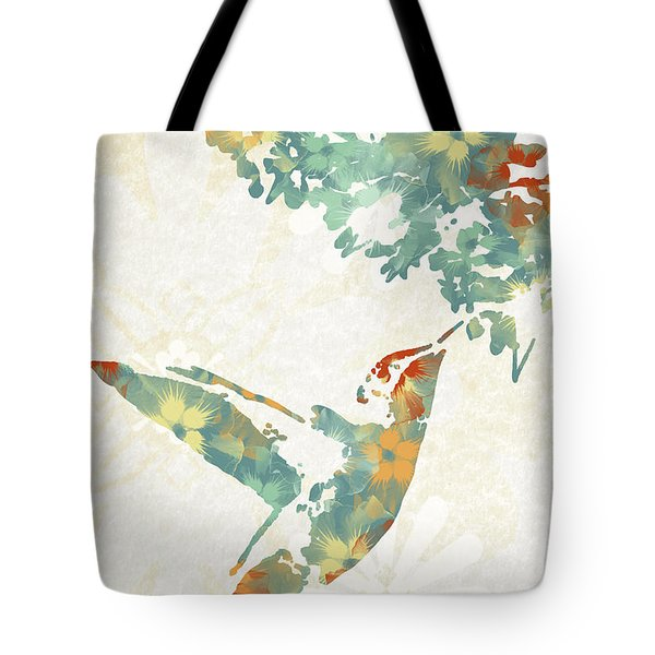 Floral Hummingbird Art Tote Bag