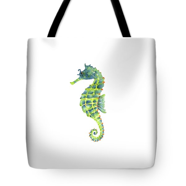 Teal Green Seahorse - Square Tote Bag by Amy Kirkpatrick