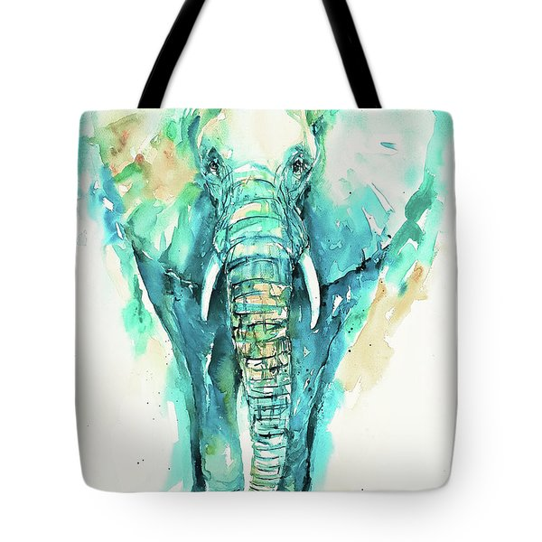 Teal N Turquoise Elephant Tote Bag