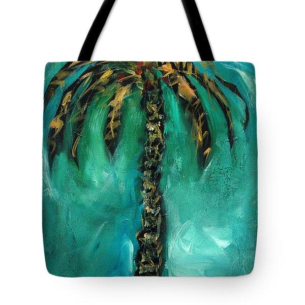Teal Palm Tote Bag