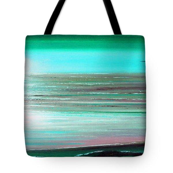 Teal Panoramic Sunset Tote Bag by Gina De Gorna