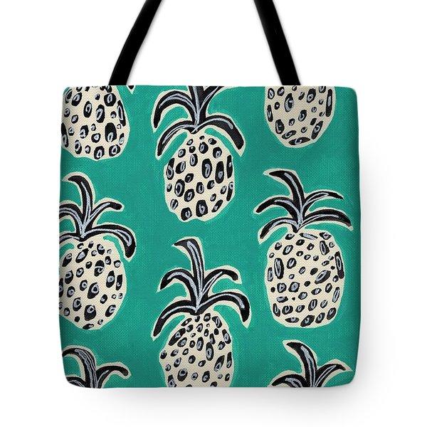 Teal Pineapples Tote Bag