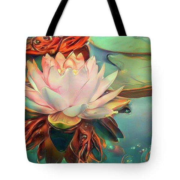Teal Waterlilies 12 Tote Bag