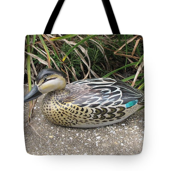 Tote Bag featuring the sculpture Teal Winged Female by Kevin F Heuman