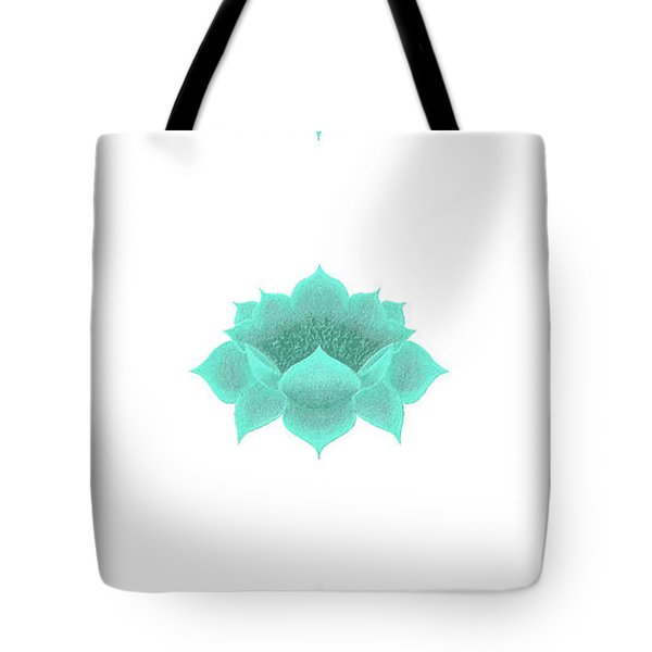 Tote Bag featuring the digital art Teal Lotus by Elizabeth Lock