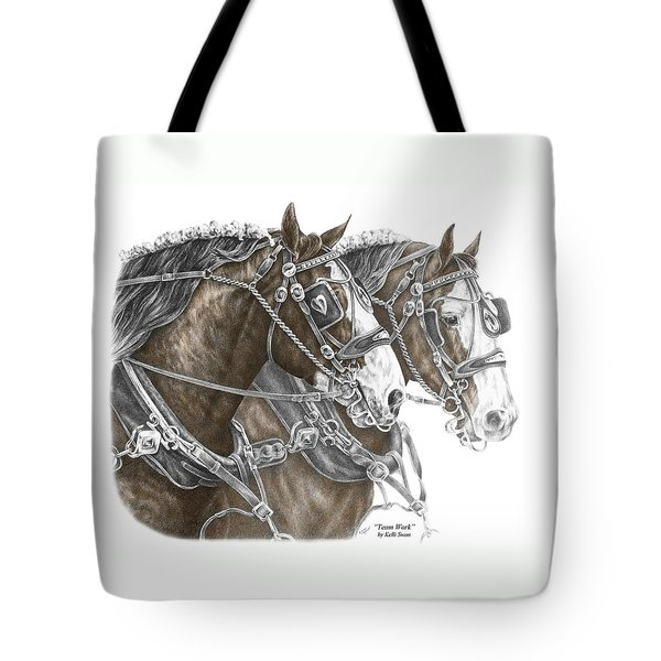 Team Work - Clydesdale Draft Horse Print Color Tinted Tote Bag