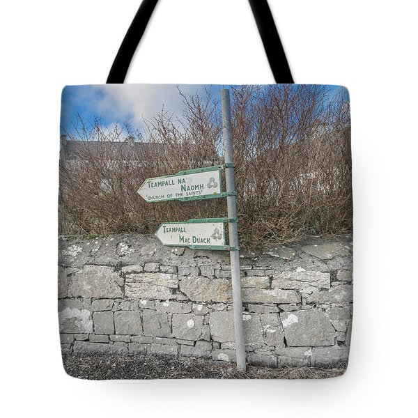 Teampall Sign Inis Mor Ireland Color Tote Bag
