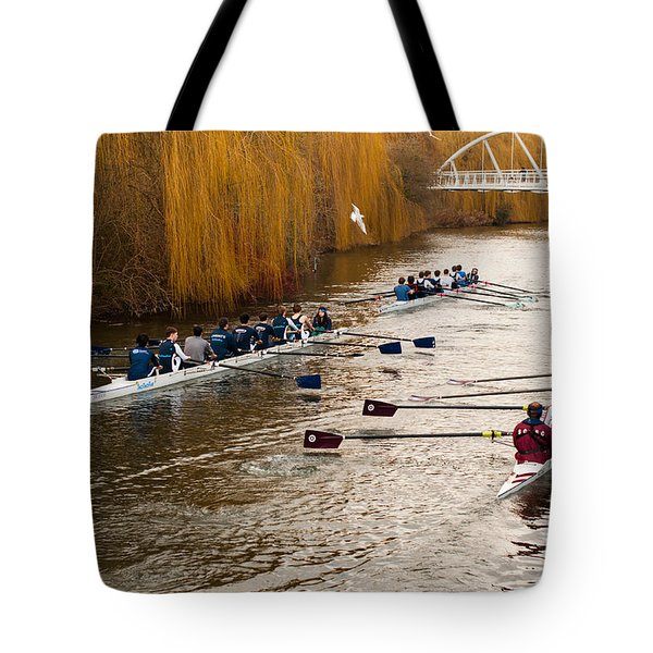 Teams Of Rowers On River Cam Tote Bag
