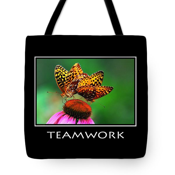 Teamwork Inspirational Motivational Poster Art Tote Bag by Christina Rollo