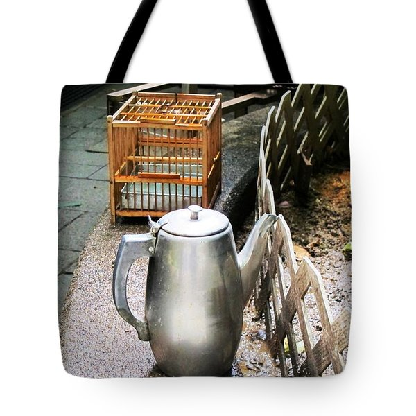 Teapot And Birdcage Tote Bag by Ethna Gillespie