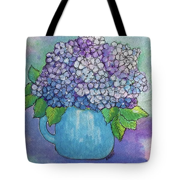 Tote Bag featuring the painting Teapot Hydranger by Rosemary Aubut
