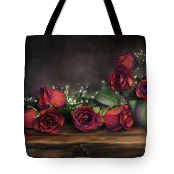 Tote Bag featuring the digital art Teapot Roses by Susan Kinney