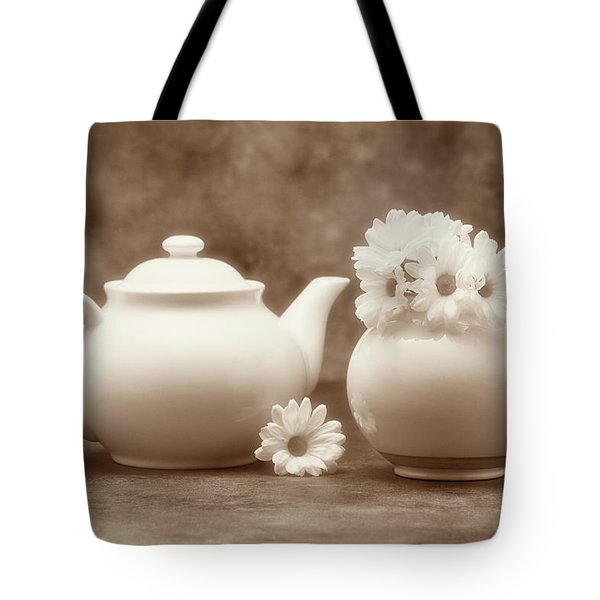 Teapot With Daisies II Tote Bag by Tom Mc Nemar