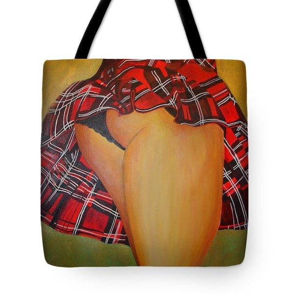 Tease Me In Tartan Tote Bag by Tracey Harrington-Simpson