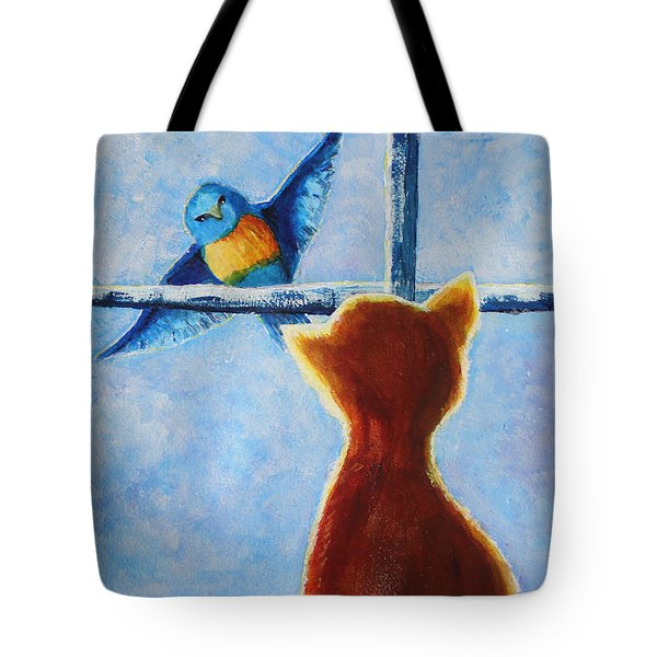Teasing Bird Tote Bag