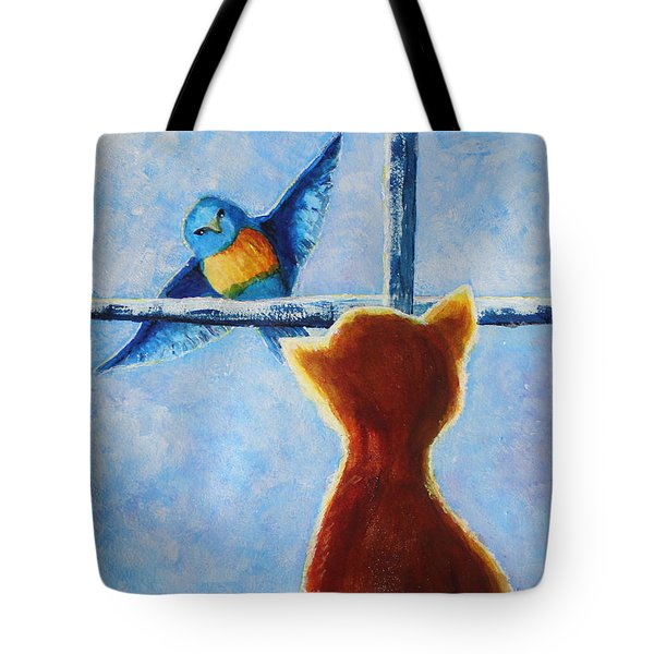 Tote Bag featuring the painting Teasing Cat by April Burton