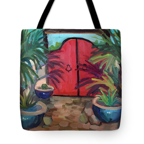 Tote Bag featuring the painting Tecate Garden Gate by Diane McClary