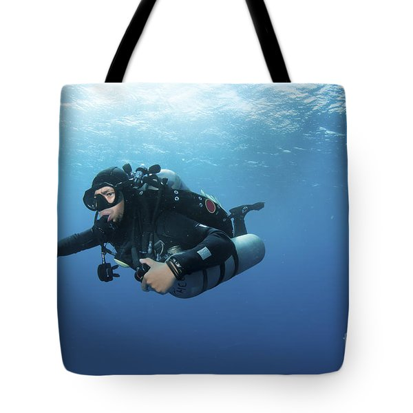 Technical Diver With Equipment Swimming Tote Bag by Karen Doody