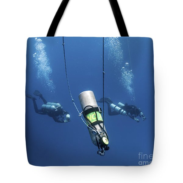Technical Divers Ascend Near A Nitrox Tote Bag by Karen Doody