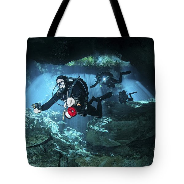 Technical Divers Enter The Cavern Tote Bag by Karen Doody