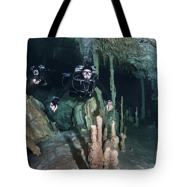 Technical Divers In Dreamgate Cave Tote Bag by Karen Doody