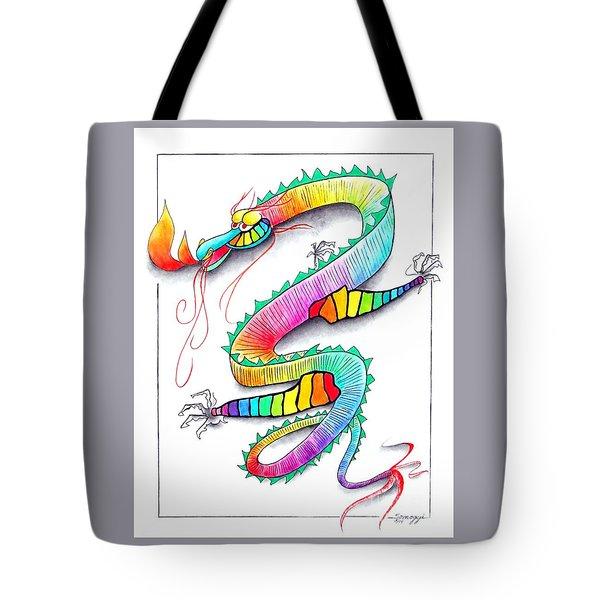 Technicolor Dragon -- Rainbow-colored Whimsical Dragon  Tote Bag by Jayne Somogy