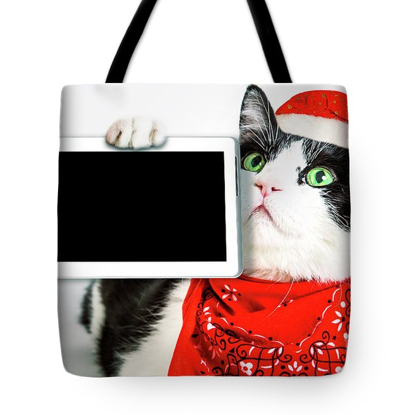 Tote Bag featuring the photograph Technology Christmas Cat by Benny Marty