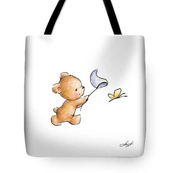 Teddy Bear With A Butterfly Tote Bag