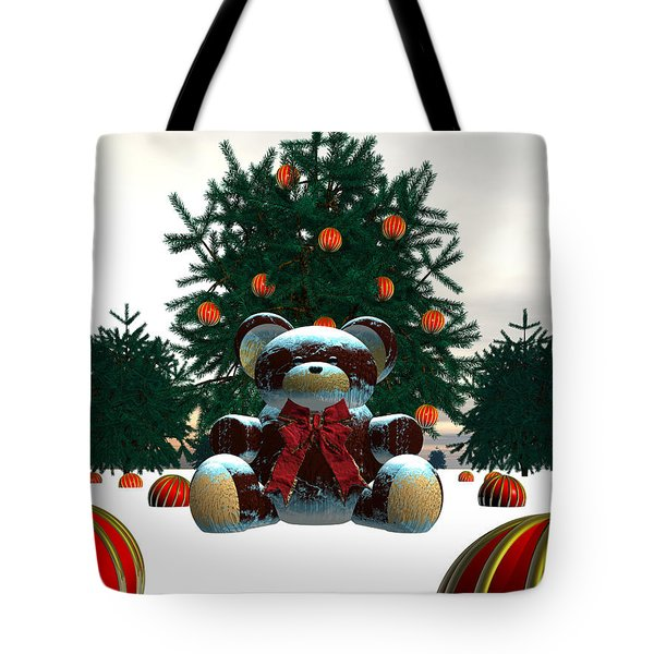 Teddy On Christmas Day Tote Bag