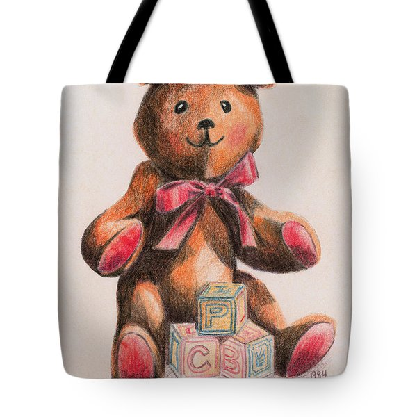 Teddy With Blocks Tote Bag by Arline Wagner