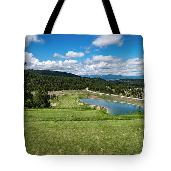 Tote Bag featuring the photograph Tee Box With As View by Darcy Michaelchuk