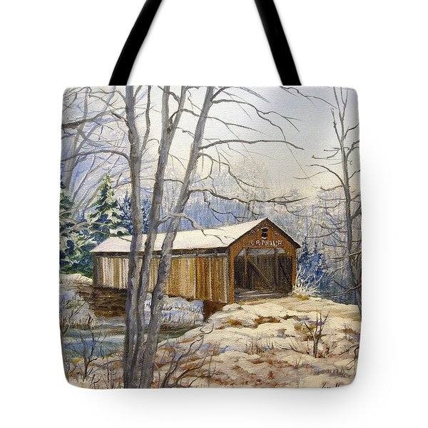 Teegarden Covered Bridge In Winter Tote Bag by Lois Mountz
