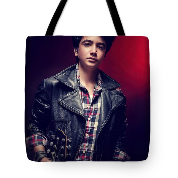 Teen Guy Posing With Guitar Tote Bag
