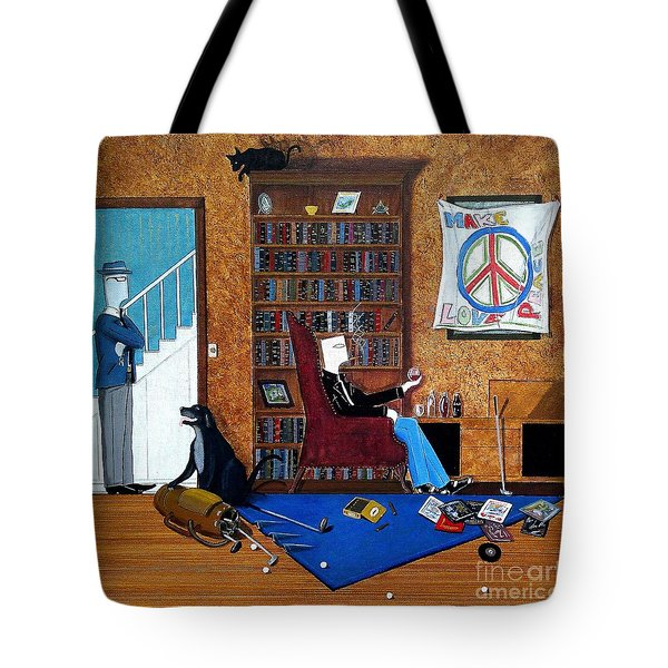 Teen Sitting In Chair Enjoying A Brandy In Father's Den Tote Bag by John Lyes