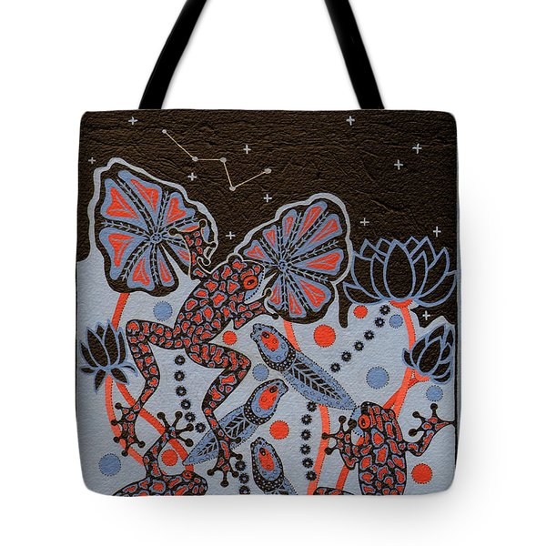 Tote Bag featuring the painting Tehteu Little Green Frogs by Chholing Taha