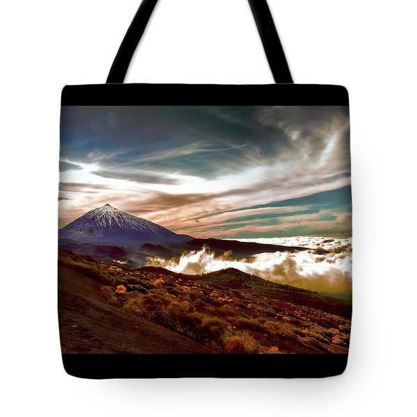 Teide Volcano - Rolling Sea Of Clouds At Sunset Tote Bag by Menega Sabidussi