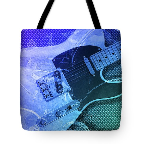 Tote Bag featuring the digital art Tele Blue by WB Johnston