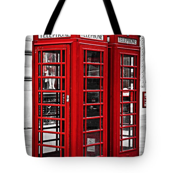 Telephone Boxes In London Tote Bag by Elena Elisseeva