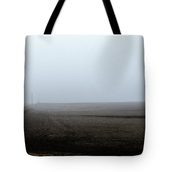 Telephone Poles Along A Foggy Field Tote Bag