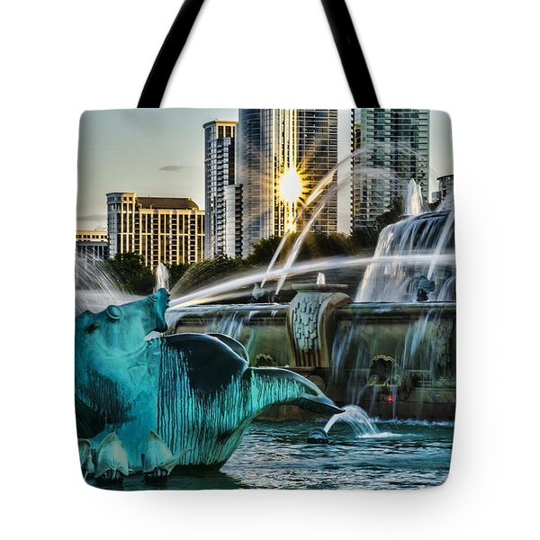 telephoto look at Chicago's Buckingham Fountain  Tote Bag
