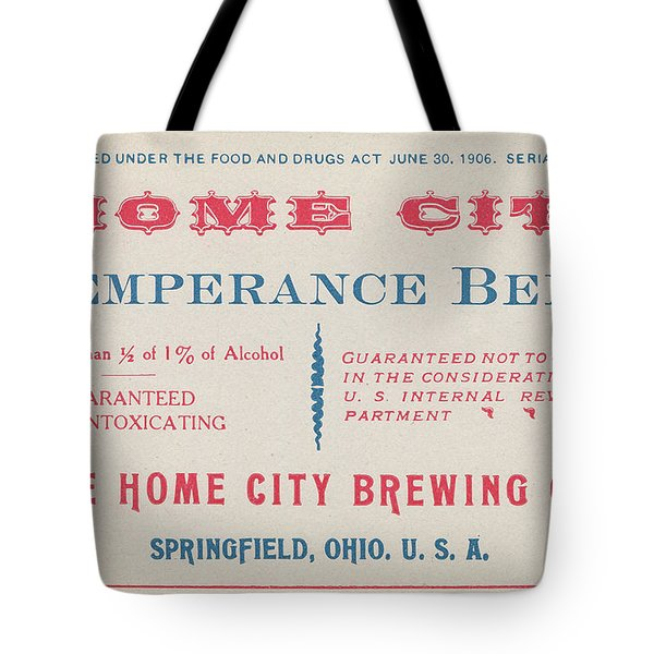 Tote Bag featuring the photograph Temperance Beer Label by Tom Mc Nemar