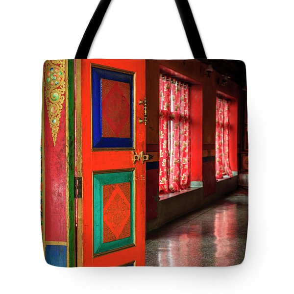 Tote Bag featuring the photograph Temple Door by Alexey Stiop