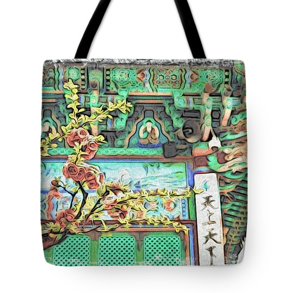 Temple Flowers Tote Bag