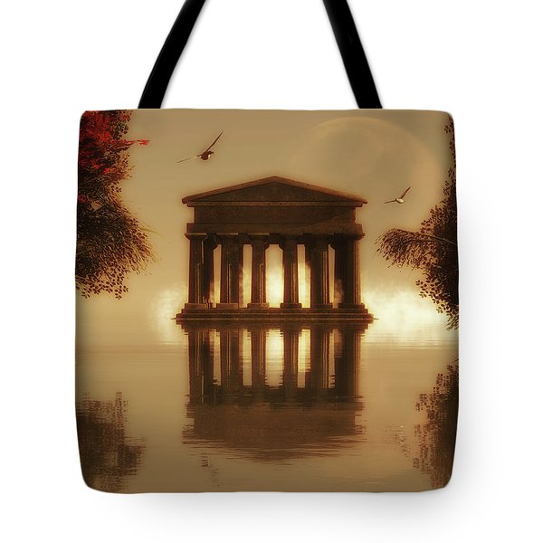 Temple In A Lake Tote Bag