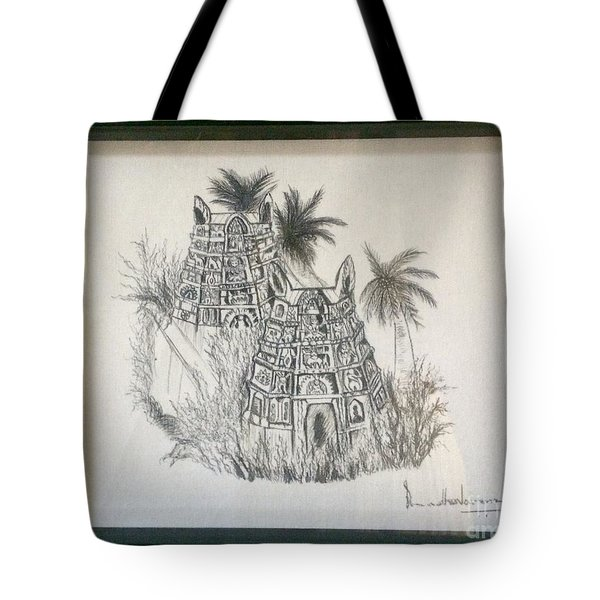 Temple In Calligraphy Ink Tote Bag