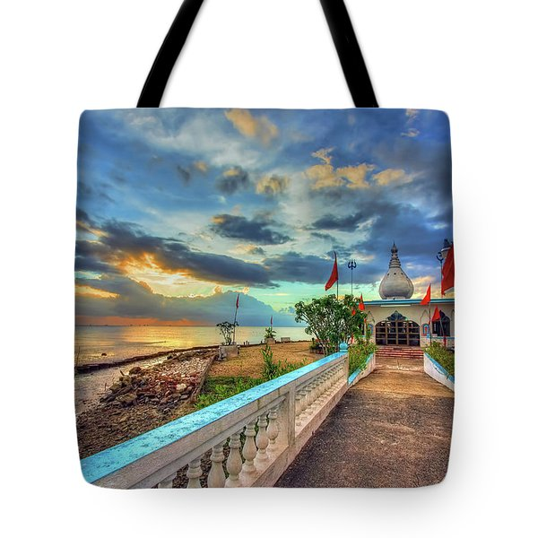 Temple In The Sea Tote Bag by Nadia Sanowar
