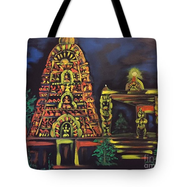 Temple Lights In The Night Tote Bag by Brindha Naveen
