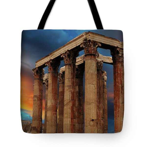 Temple Of Olympian Zeus Tote Bag by Bob Christopher