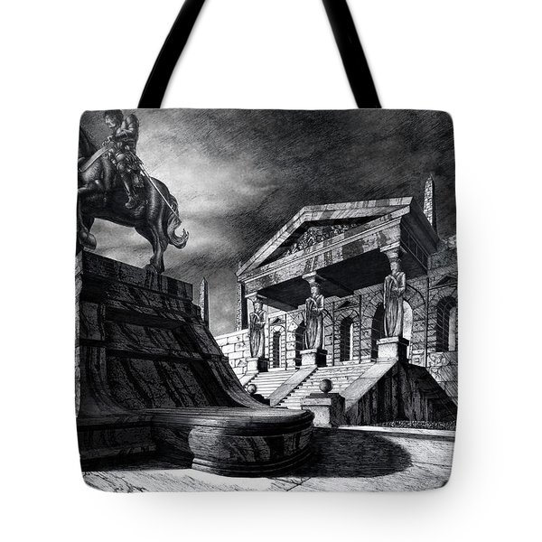 Tote Bag featuring the drawing Temple Of Perseus by Curtiss Shaffer
